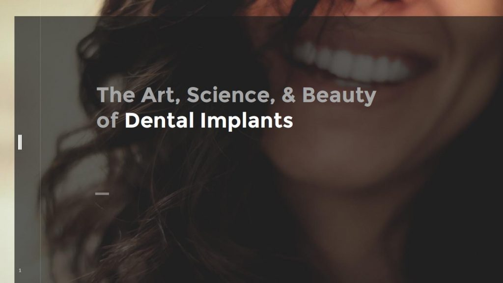 """Our dental implant ebook cover, a woman's lower face expressing a smile, with """"The Art, Science,& Beauty of Dental Implants"""""""