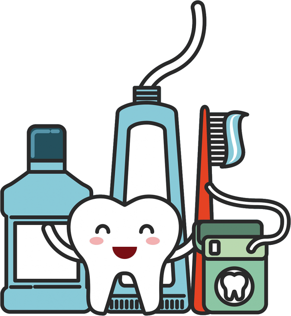 Illustration of a tooth character in front of mouthwash, toothpaste, a toothbrush, and floss