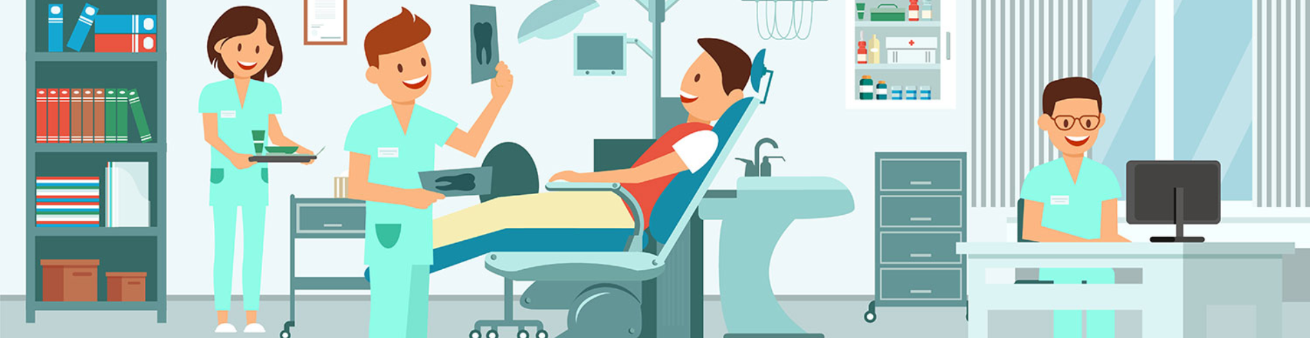Graphic of a dental office with several workers and a patient